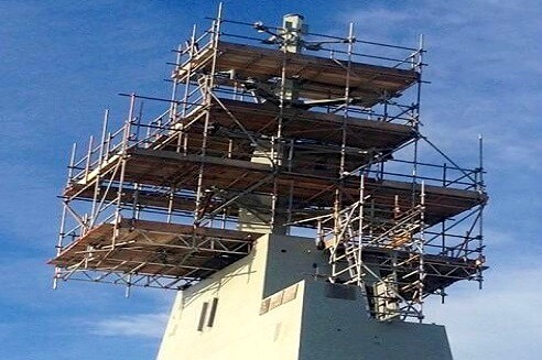 scaffold on tower of hmas canberra