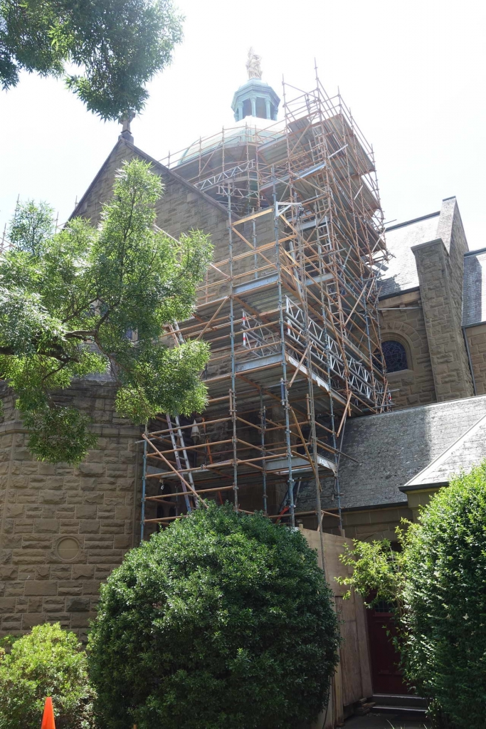scaffold on side of heritage building during renovation