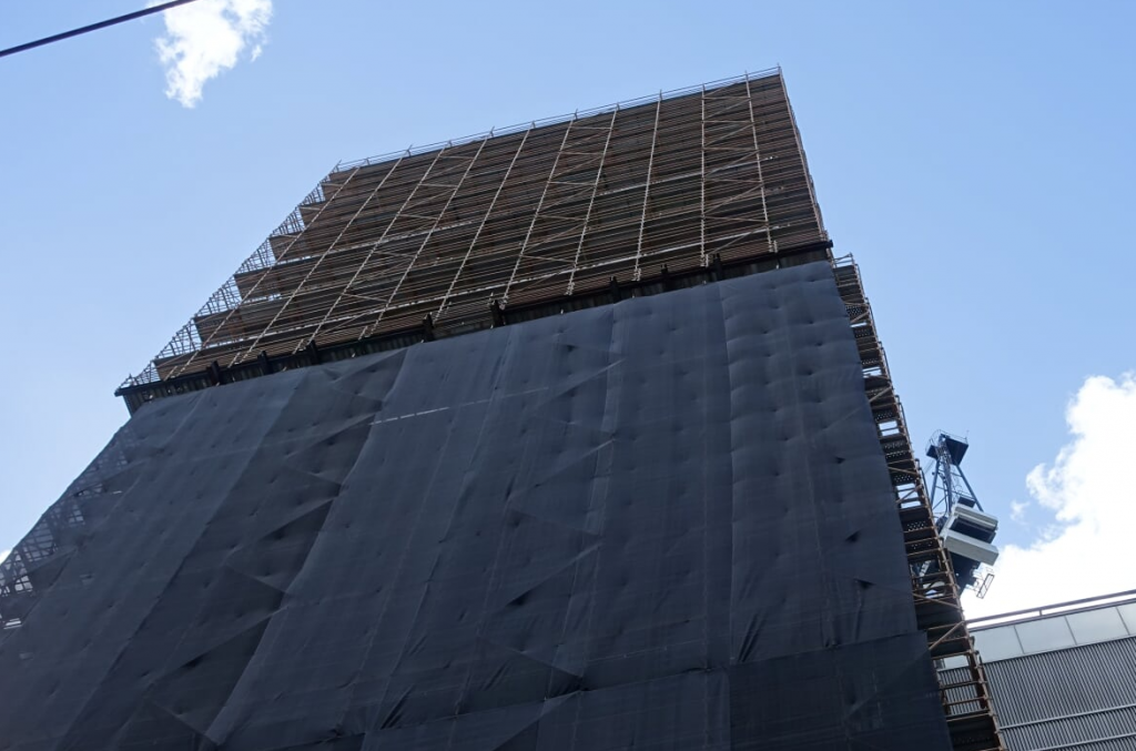 top floors covered in scaffold at suncorp building