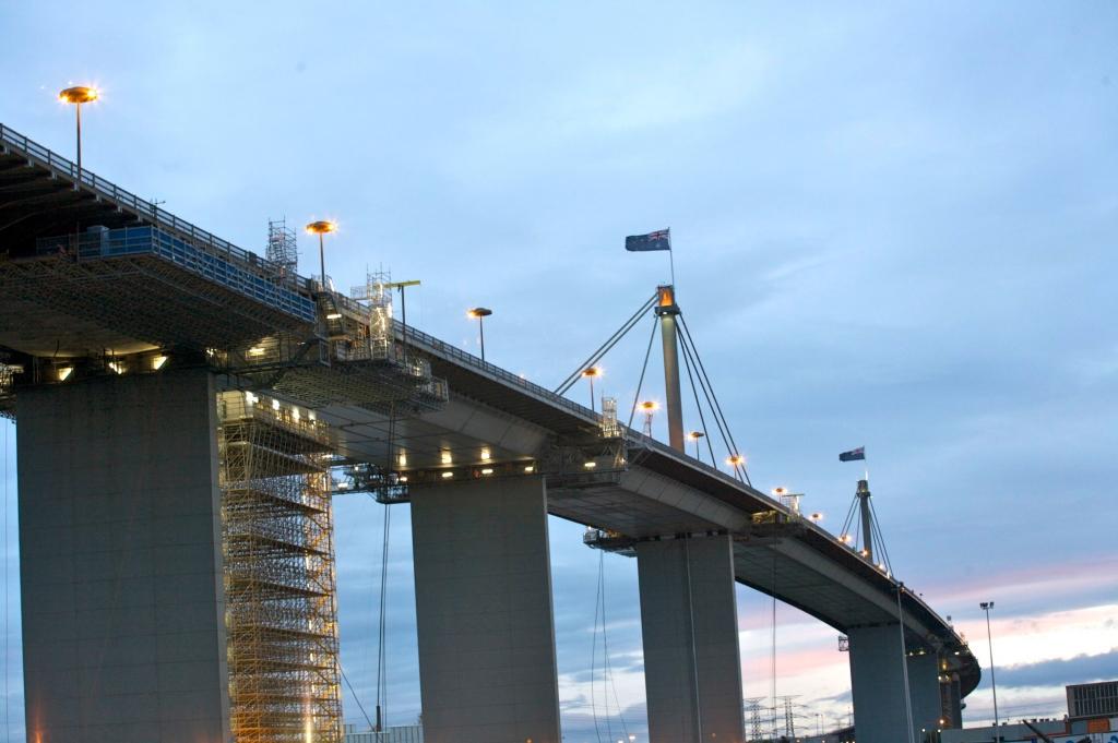 view of westgate bridge at night