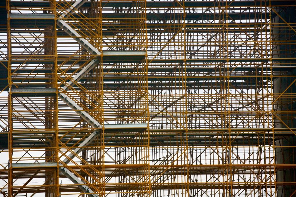 many levels of scaffold erected on westgate bridge