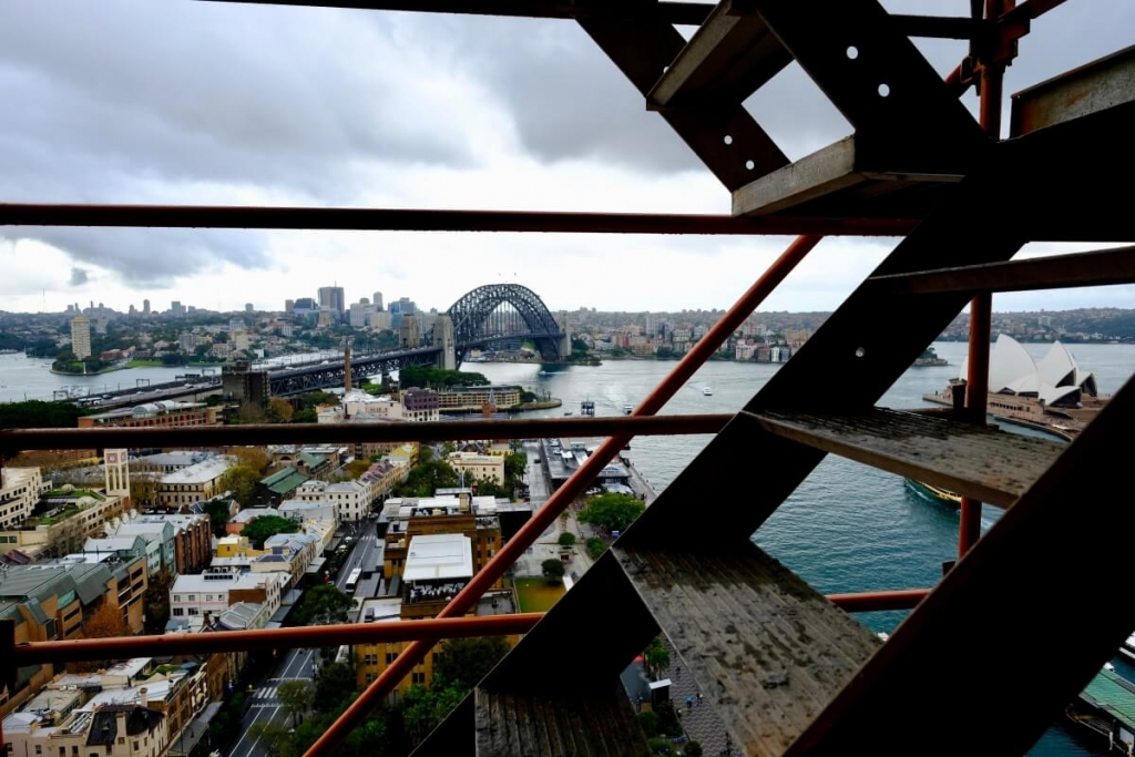 scaffold stairs overlooking sydney harbour
